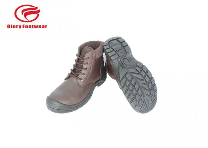 PU Pouring  Men's Steel Toe Work Boots With Embossed Action Leather Upper