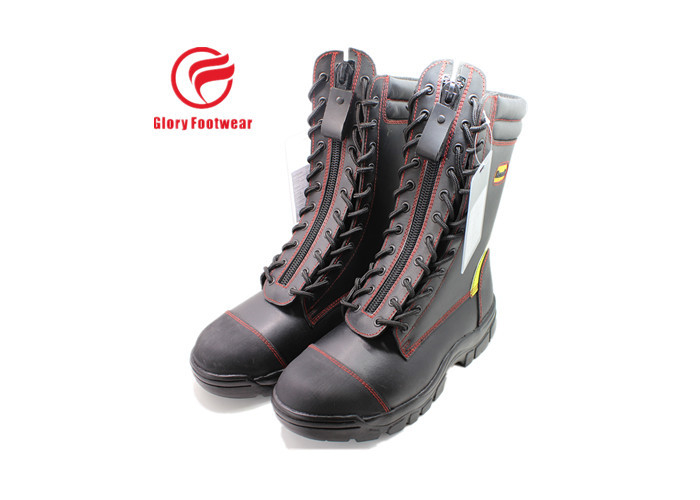 High Cut Leather Firefighter Boots ,  Forest Fire Department Station Boots Safety Toe