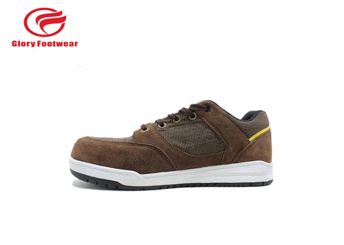 Brown Rubber Sole Sport Safety Shoes For Climbing / Hiking With 200J Steel Toe Cap