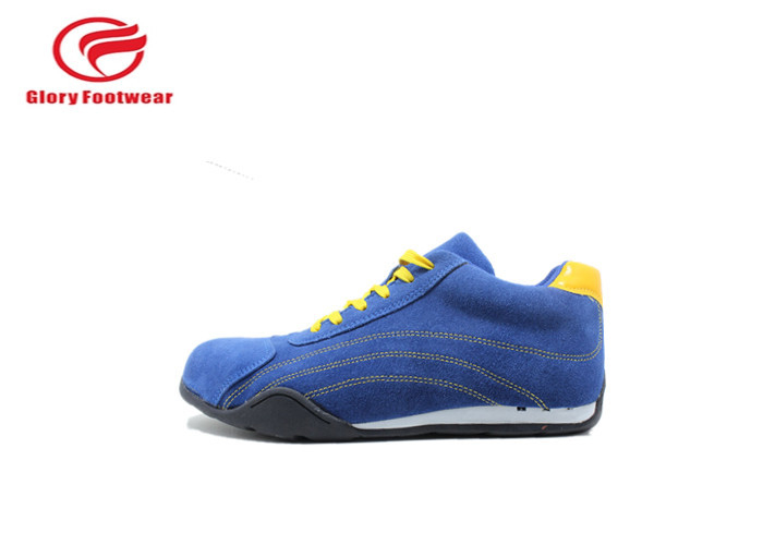 Blue Shine With Yellow Breathe Sport Safety Shoes , Office Men'S Athletic Safety Shoes