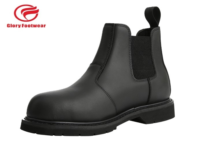 Rubber Sole  Fashion Working Goodyear Welt Safety Shoes Plastic Toe With Genuine Leather