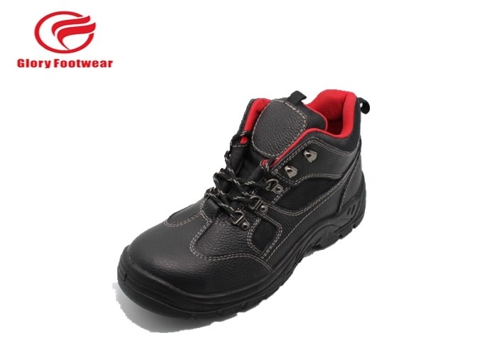 Split Breathable Mens Leather Steel Toe Boots Cow Leather With Red Mesh Anti Slip