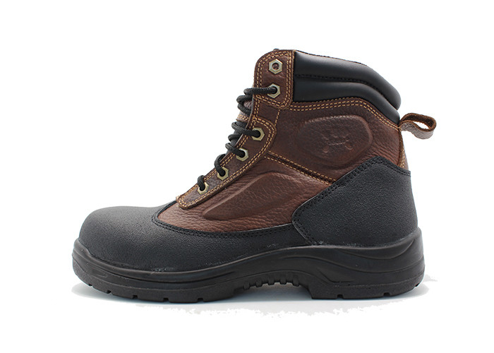 Casual Tumbled Leather Upper Safety Toe Walking Boots For Cowboy Anti Smashing
