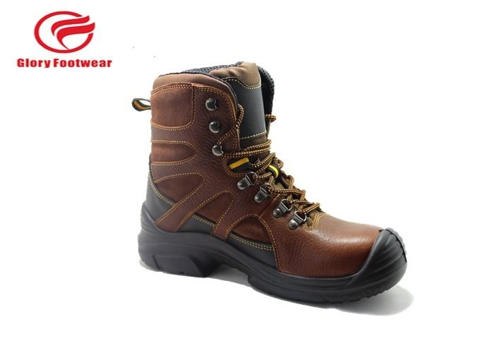High Cut Tumbled Leather Lightweight Steel Toe Boots , Steel Toe Waterproof Boots