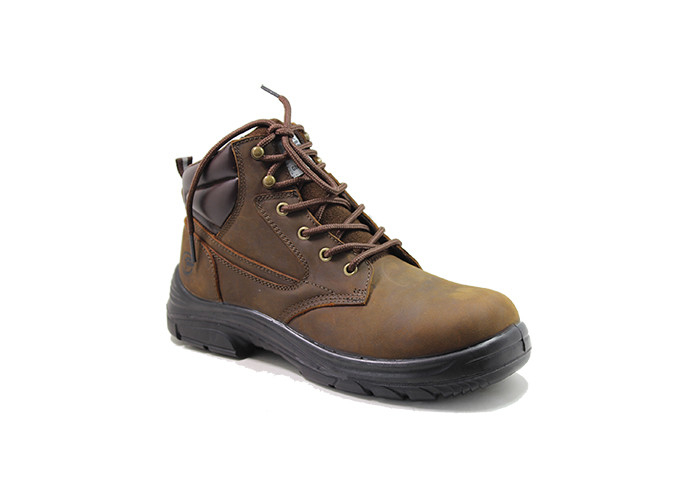 brown nubuck leather safety boots with Plastic toe and Kevlar