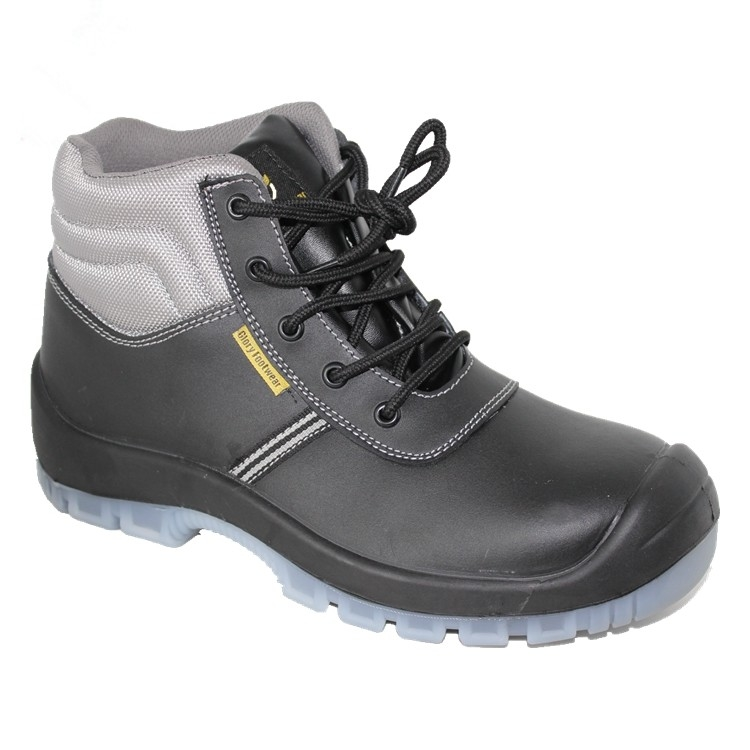 pu/pu outsole with steel toe cap steel pleate blaack safety shoes for man
