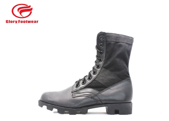 China Combat Style Waterproof  Grain  Leather Military Boots Rubber Sole With Steel Toe Cap distributor