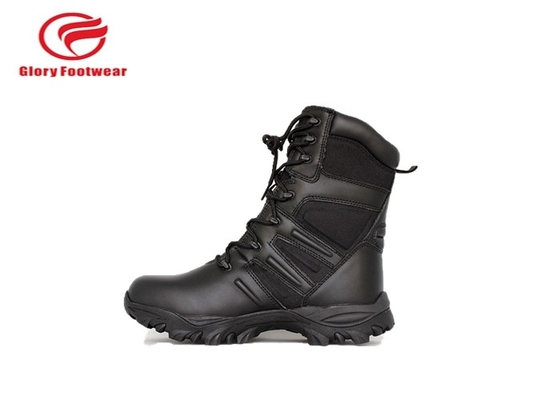 China Black Mens Lace Up Genuine Leather Military Boots Water Resistant  Fashion factory