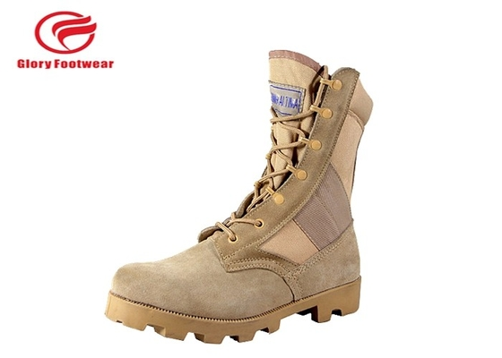 China 8 Inch High Heel Cow Suede Combat Boots Mens Sand Color With Cotton Fabric Lining distributor