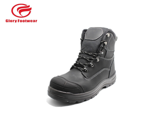 Full Grain Leather High Cut Steel Sole Safety Boots For Cold Place Comfortable