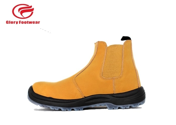 China Protective Stylish Laceless Steel Toe Waterproof Slip On Boots Foor Office Yellow distributor