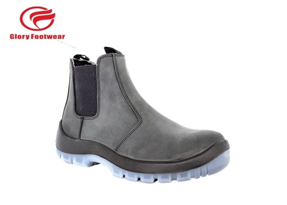 China Black  Middle Cut Pull On Waterproof Steel Toe Work Boots With Suede Leather distributor