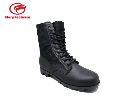 China Trendy  Lace Up Male Leather Military Combat Boots With Microfiber At The End distributor