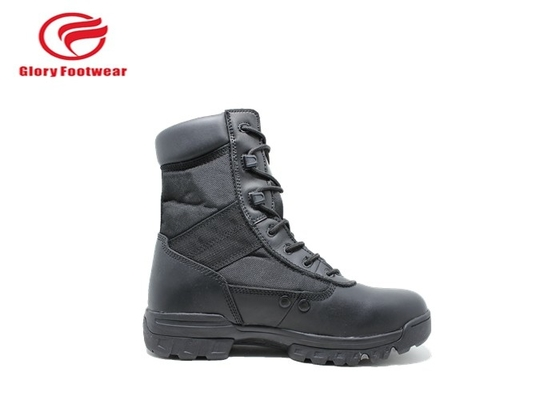 China Long Black Leather Military Combat Boots , Winter Lightweight Waterproof Military Boots distributor