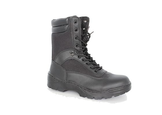 China 9 Inches Black Tactical  Leather Military Combat Boots With Zipper Full Grain Leather factory