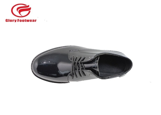 China Goodyear Welt Shiny Police Leather Shoes , Low Cut Police Officer Work Shoes distributor