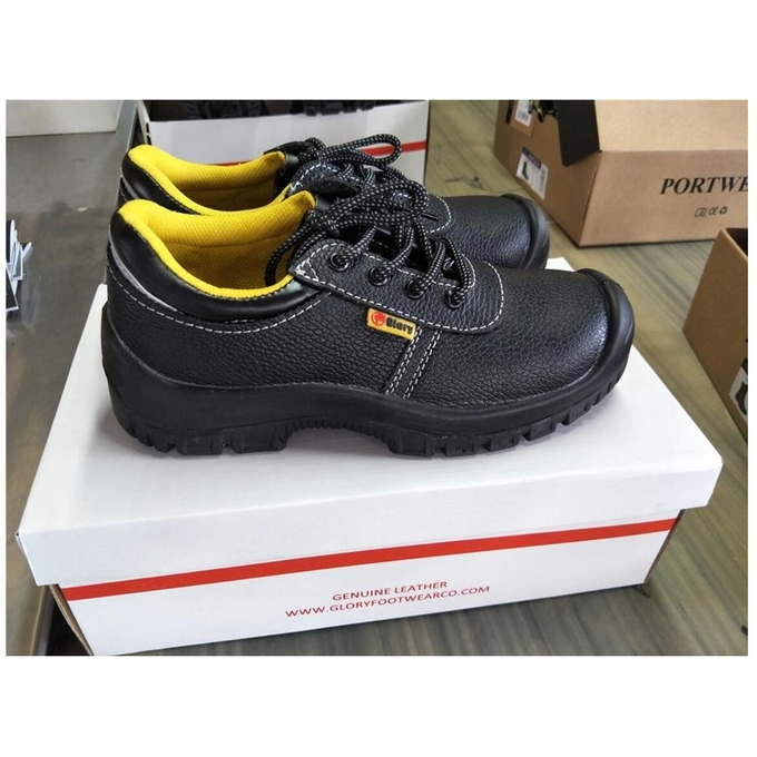 Grey / Black Rubber Outsole Steel Toe Work Shoes Men With Cow Suede / Oxford